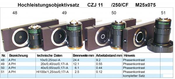 Objektivsatz Nr. 11 Phase Zeiss Jena 250 CF Optik