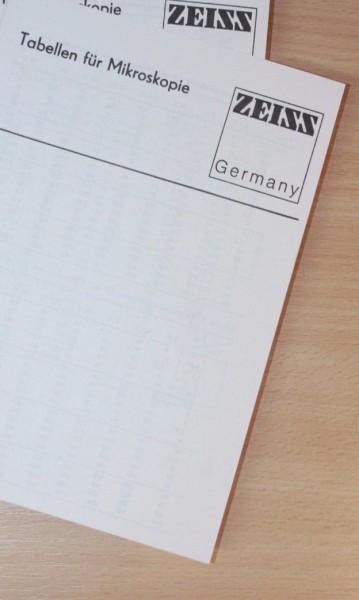 Zeiss Jena Liste Tabellen für Mikroskope