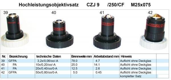 Objektivsatz Nr. 9 CZJ 250 CF Optik